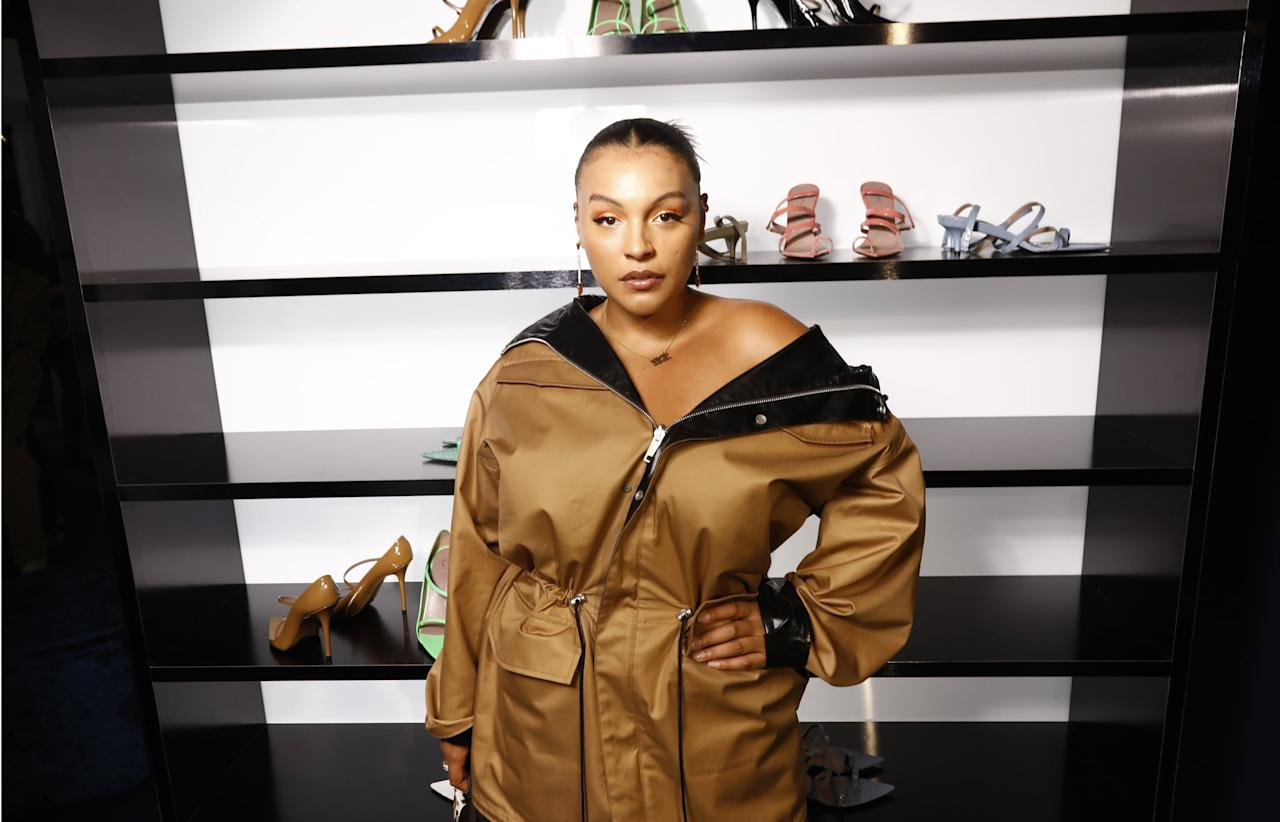 <p>This 2019 Fenty event saw Paloma Elsesser casually wearing a brown off-the-shoulder jacket that would look sloppy on the average wearer. On her, it was chic as hell and made her look intentionally disheveled yet still put together.</p>