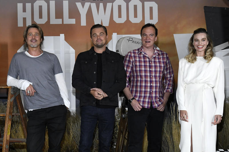 "LOS ANGELES, CALIFORNIA - JULY 11: (L-R) Brad Pitt, Leonardo DiCaprio, director Quentin Tarantino and Margot Robbie attend the photo call for Columbia Pictures' ""Once Upon A Time In Hollywood"" at Four Seasons Hotel Los Angeles at Beverly Hills on July 11, 2019 in Los Angeles, California. (Photo by Kevork Djansezian/Getty Images)"