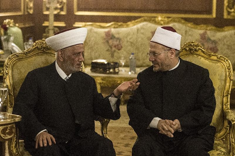 Shawki Ibrahim Abdel-Karim Allam (R), the Grand Mufti of Egypt, speaks with Lebanon's Grand Mufti Sheikh Abdul Latif Derian during opening session of the Fatwa international conference in Cairo on August 17, 2015 (AFP Photo/Khaled Desouki)