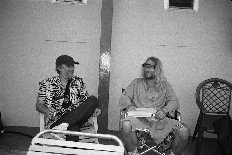 "Korine and McConaughey relaxing on set. ""Even when they were not rolling camera, him and Harmony would kind of be hanging out and just shooting the breeze. They definitely had a really amazing way of communicating."""