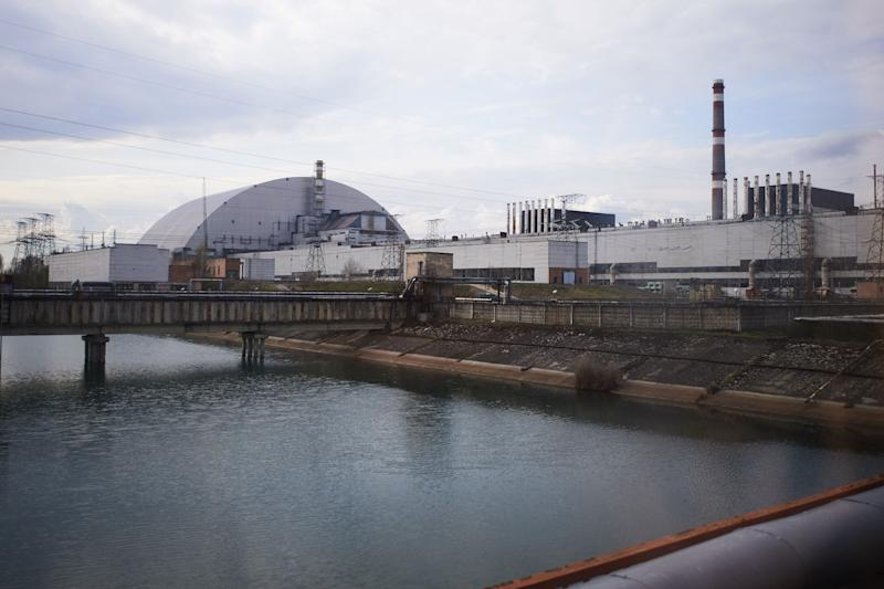 A view of the new safe confinement over the unit 4 at the Chernobyl nuclear power plant in the Exclusion Zone, Ukraine. (Photo: Vitaliy Holovin/Corbis via Getty images)