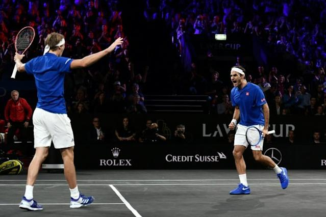 Federer and Zverev secured Europe a 3-1 lead (AFP Photo/Fabrice COFFRINI)