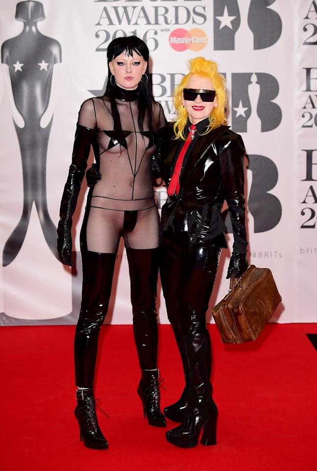 <p>Designer Pam Hogg was head-to-toe in latex while model Sadie wore one of the most revealing red carpet looks in history. <i>[Photo: PA]</i> </p>