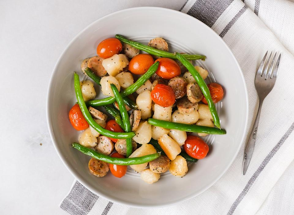 chicken sausage and gnocchi with vegetables