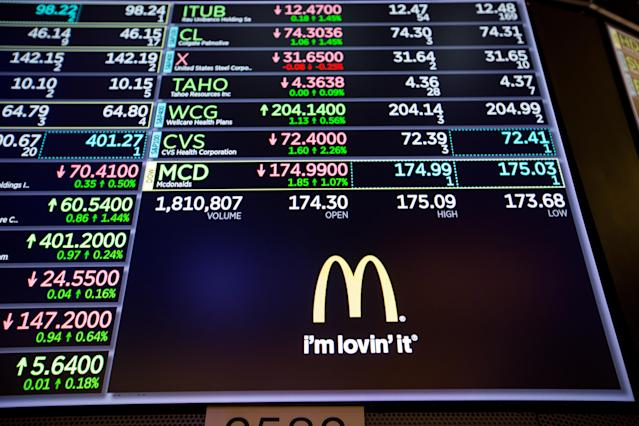 A monitor displays McDonald's Corp. signage on the floor of the New York Stock Exchange (NYSE) in New York, U.S. Photographer: Michael Nagle/Bloomberg