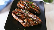 """<p>Rubbery? Not here.</p><p>Get the recipe from <a href=""""https://www.delish.com/cooking/recipe-ideas/a53483/best-grilled-chicken-breast-recipe/"""" rel=""""nofollow noopener"""" target=""""_blank"""" data-ylk=""""slk:Delish."""" class=""""link rapid-noclick-resp"""">Delish.</a> </p>"""