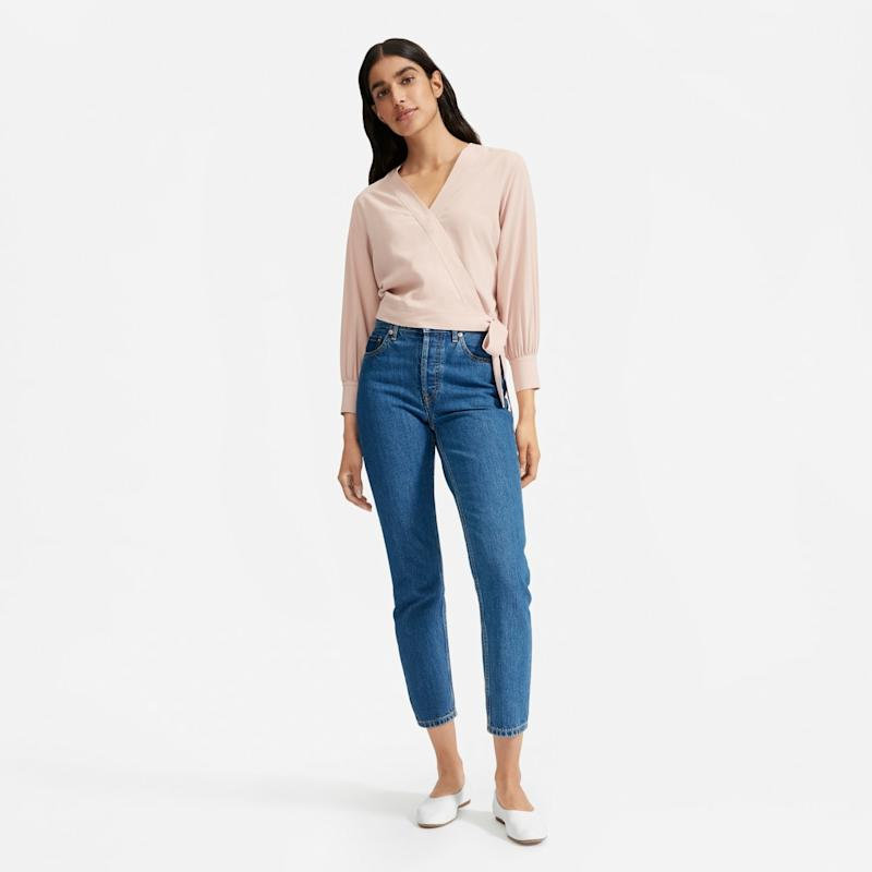 Everlane Washable Silk Wrap Top in rose
