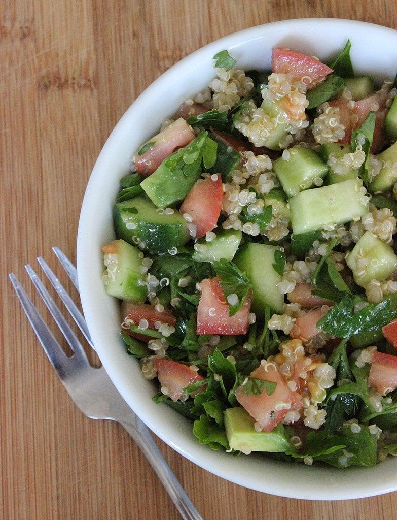 "<p>This tabbouleh-inspired quinoa and tomato cucumber salad is light and refreshing.</p> <p><strong>Calories:</strong> 532<br> <strong>Protein:</strong> 8.8 grams</p> <p><strong>Get the recipe:</strong> <a href=""https://www.popsugar.com/fitness/Jennifer-Aniston-Salad-Recipe-34773608"" class=""link rapid-noclick-resp"" rel=""nofollow noopener"" target=""_blank"" data-ylk=""slk:tabbouleh quinoa salad"">tabbouleh quinoa salad</a></p>"
