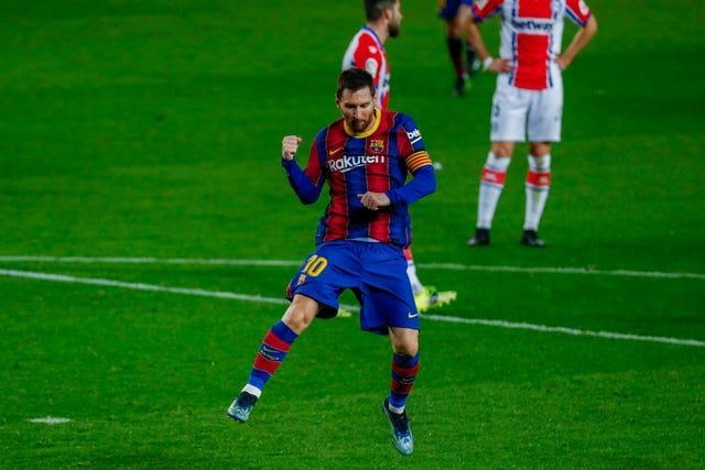 Lionel Messi struck twice for Barcelona against Alave