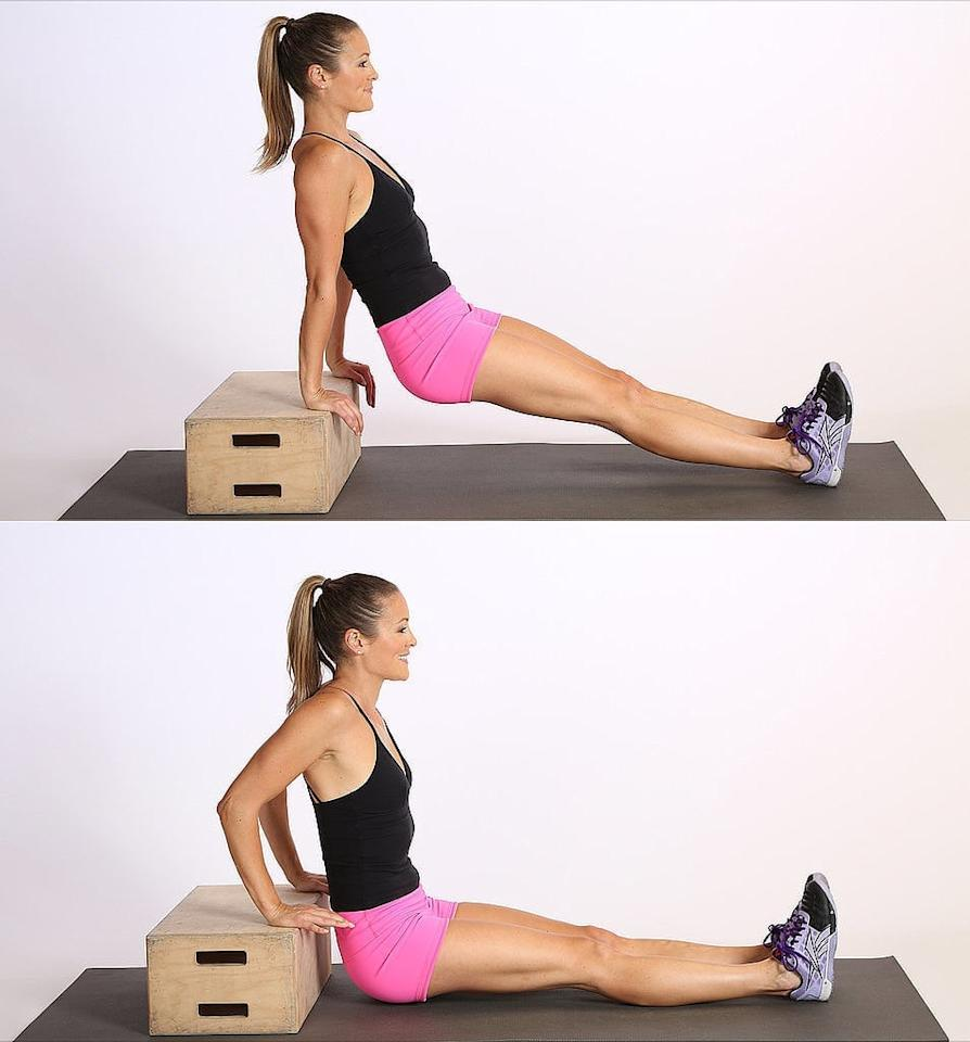 <ul> <li>Position your hands shoulder-width apart on a secured bench or stable chair. </li> <li>Slide your butt off the front of the bench with your legs extended out in front of you. To modify, bend your legs so your thighs are parallel with the ground and your shins directly below your knees.</li> <li>Straighten your arms, keeping a little bend in your elbows to keep tension on your triceps and off your elbow joints.</li> <li>Slowly bend your elbows to lower your body toward the floor until your elbows are at about a 90-degree angle. Be sure to keep your back close to the bench.</li> <li>Once you reach the bottom of the movement, press down into the bench to straighten your elbows, returning to the starting position. Keep your shoulders down as you lower and raise your body.</li> <li>This completes one rep.</li> <li>Do five reps, then five small pulses at the top, bending and straightening your arms just slightly. Finish with five more full reps.</li> </ul>