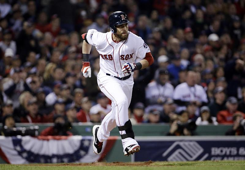 Boston Red Sox's Jacoby Ellsbury runs to first after hitting a single during the third inning of Game 6 of baseball's World Series against the St. Louis Cardinals Wednesday, Oct. 30, 2013, in Boston. (AP Photo/David J. Phillip)