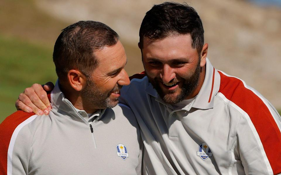 Jon Rahm and Sergio Garcia were two bright spots for the Europeans on a disappointing day at Whistling Straits - REUTERS
