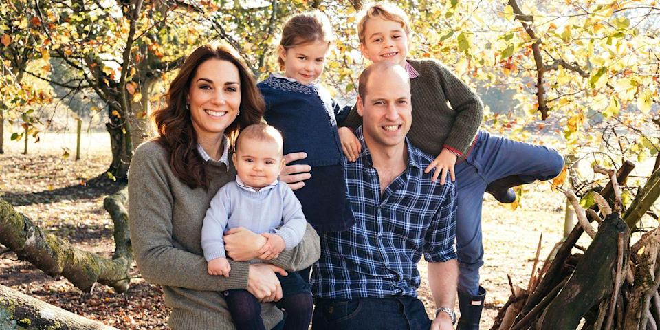 "<p>The first Christmas card as a family of five! The Cambridge family poses in a sweet autumnal <a href=""https://www.harpersbazaar.com/celebrity/latest/a25583361/kate-middleton-prince-william-christmas-card-2018/"" rel=""nofollow noopener"" target=""_blank"" data-ylk=""slk:photo"" class=""link rapid-noclick-resp"">photo</a> for their 2018 holiday card. </p>"
