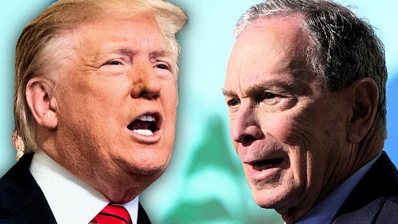 President Trump and Mike Bloomberg. (Photo illustration: Yahoo News; photos: AP, Scott Varley/MediaNews Group/Torrance Daily Breeze via Getty Images)