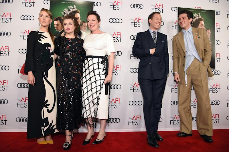 The cast of The Crown—Erin Doherty, Helena Bonham Carter, Olivia Colman, Tobias Menzies, and Josh O'Connor—at the AFI Fest Tribute to Peter Morgan presented by Audi