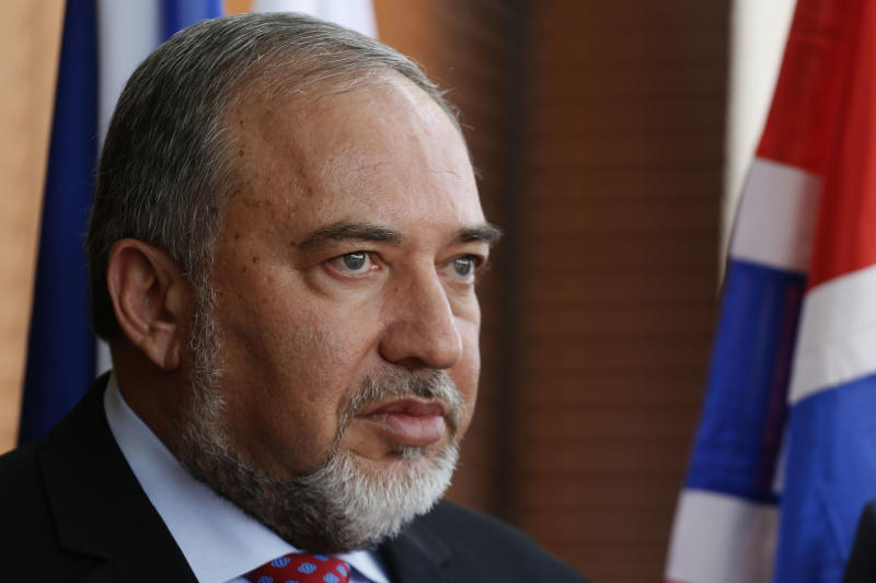 Israeli Foreign Minister Avigdor Lieberman looks on before a meeting at the Foreign Affairs Ministry on September 7, 2014 in Jerusalem