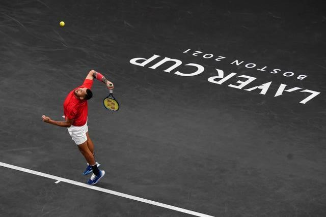 Nick Kyrgios hits a serve during the Laver Cup in Boston