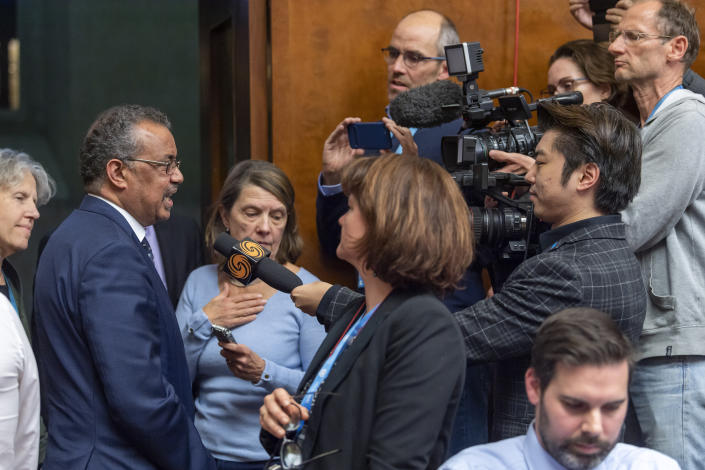 Tedros Adhanom Ghebreyesus, Director General of the World Health Organization (WHO), speaks to the media about the Situation regarding the new Coronavirus, during a press conference at the European headquarters of the United Nations in Geneva, Switzerland, Wednesday, Jan. 29, 2020. Efforts to contain a new and deadly virus have intensified Wednesday, as quarantine facilities are set up, many airlines have suspended or significantly cut back flights from China and efforts continue to find a medical remedy. (Martial Trezzini/Keystone via AP)