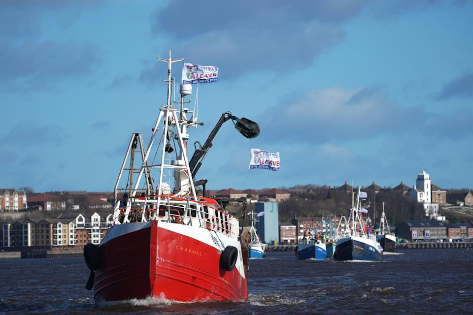 Fishermen take part in a pro-Brexit protest at Newcastle Quayside.