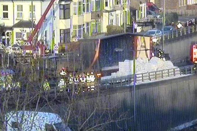 Delays: The overturned lorry was recovered on Tuesday evening. (TfL Traffic News)