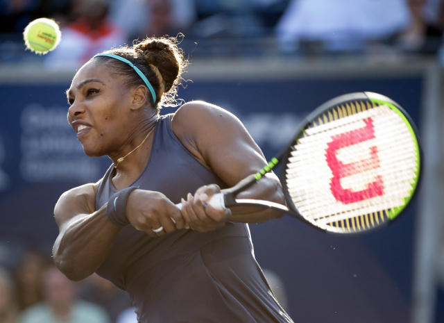 Serena Williams, of the United States, returns the ball against Marie Bouzkova, of the Czech Republic, during semifinal Rogers Cup tennis tournament action in Toronto, Saturday, Aug. 10, 2019. (Nathan Denette/The Canadian Press via AP)