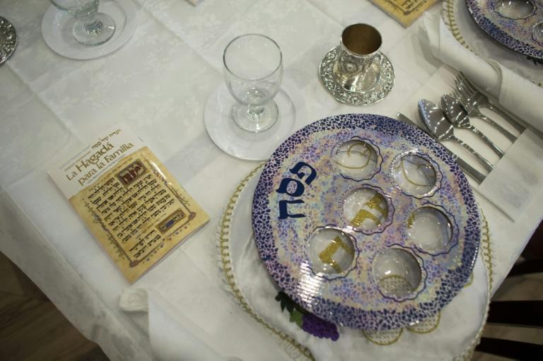 A table is set up at the non-profit soup kitchen Masbia, in Borough Park, Brooklyn, for the beginning of Passover celebrations on March 26, 2021
