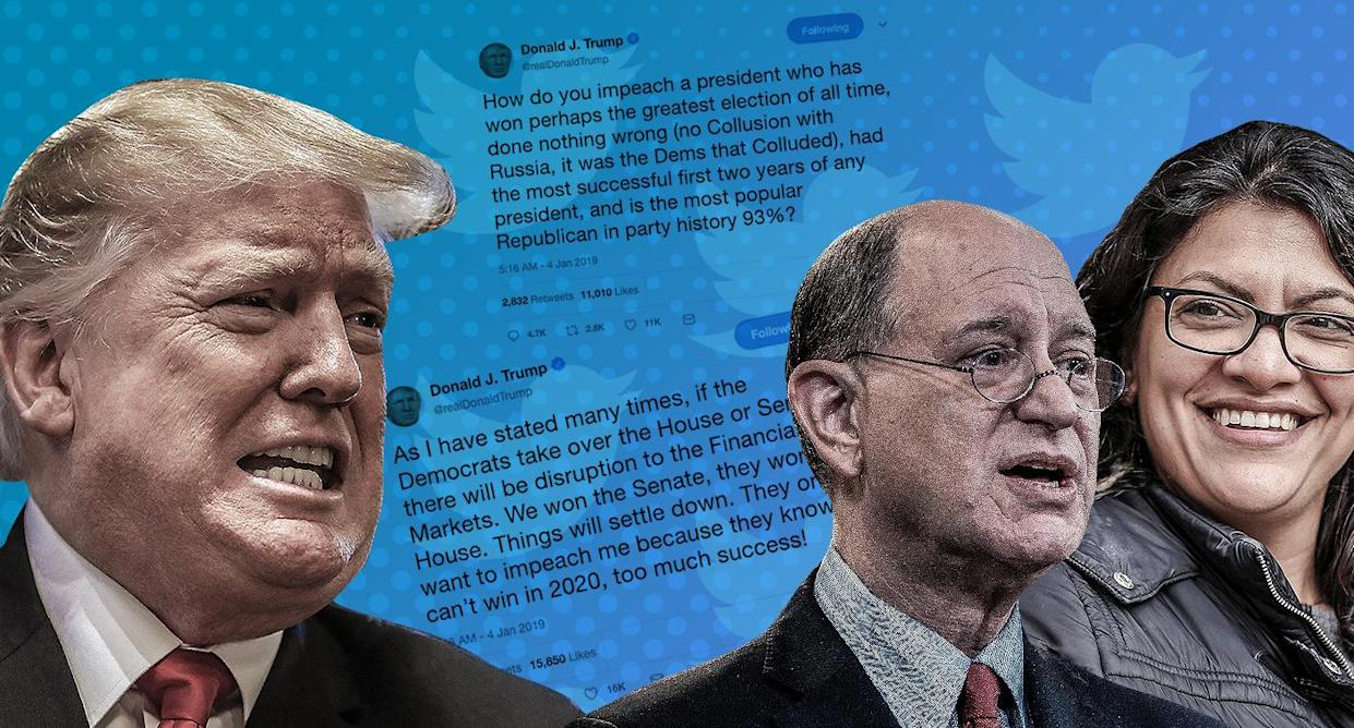 President Trump and Reps. Brad Sherman and Rashida Tlaib. (Yahoo News photo Illustration; photos: AP, Getty)