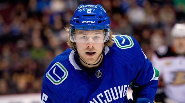 Vancouver Canucks forward Brock Boeser was placed in the concussion protocol and his status remains uncertain for the start of the regular season. (Dom Gagne-USA TODAY Sports)