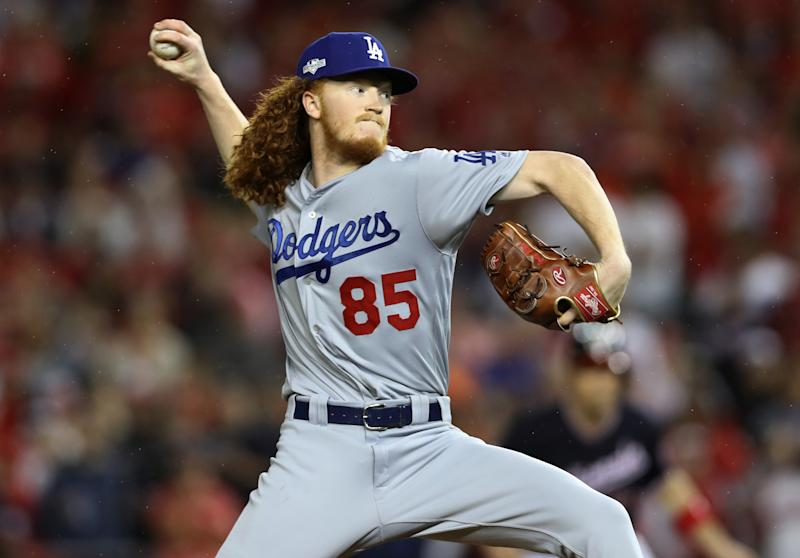 Dustin May #85 of the Los Angeles Dodgers