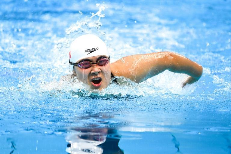 """China's Jiang Yuyan has only one arm and one leg, but says the pool sets her free. """"You don't need a crutch in the water,"""" she says (AFP/CHARLY TRIBALLEAU)"""