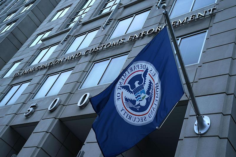 An exterior view of US Immigration and Customs Enforcement (ICE) agency headquarters, under the Department of Homeland Security, is seen in Washington, DC