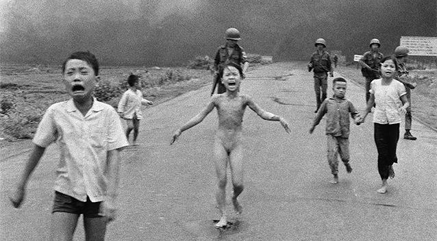 The Associated Press and Nick Ut's photograph of nine-year-old Kim Phuc fleeing down Route 1 near Trang Bang in 1972 became one of the most iconic images of the Vietnam War. Photo: AP/Nick Ut
