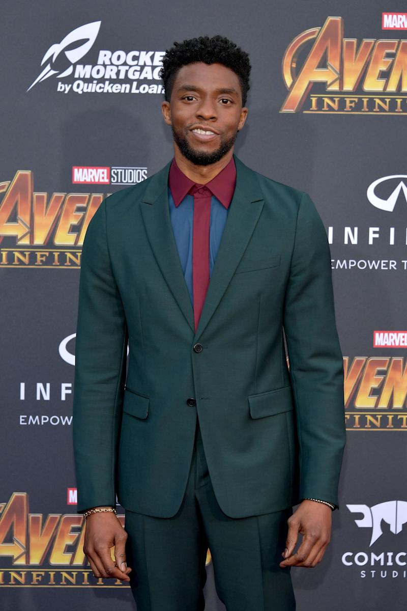 "Chadwick Boseman attends the premiere of ""Avengers: Infinity War."""