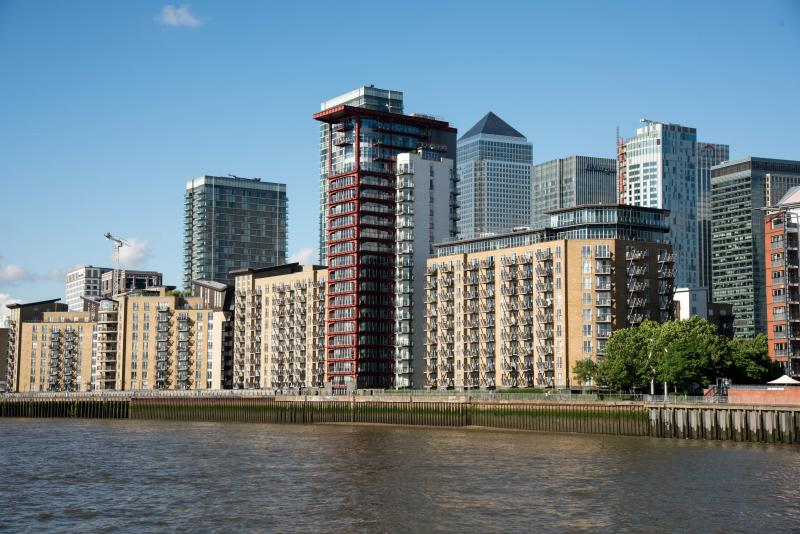 Apartments and high-rise buildings near Greenwich, England. (Photo by: Education Images/Universal Images Group via Getty Images)