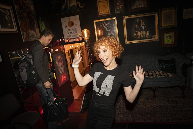 Kathy Griffin backstage at Largo with husband Randy Bick