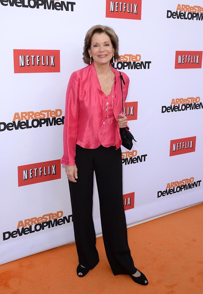 "HOLLYWOOD, CA - APRIL 29:  Actress Jessica Walter arrives at the TCL Chinese Theatre for the premiere of Netflix's ""Arrested Development"" Season 4 held on April 29, 2013 in Hollywood, California.  (Photo by Jason Merritt/Getty Images)"