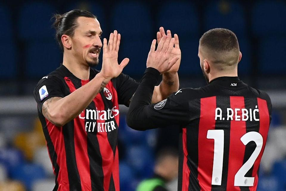 Ante Rebic and Zlatan Ibrahimovic for AC Milan (AFP via Getty Images)