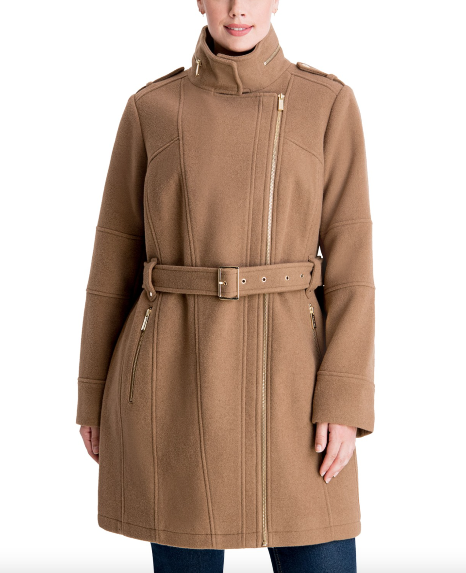 MICHAEL Michael Kors Plus Size Asymmetrical Belted Coat in Camel (Photo via Macy's)