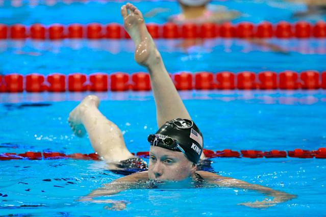 "<a class=""link rapid-noclick-resp"" href=""/olympics/rio-2016/a/1119878/"" data-ylk=""slk:Lilly King"">Lilly King</a> had the fastest semifinal time in the 100 breaststroke. (Getty Images)"