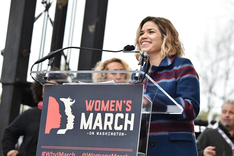 America Ferrera speaks onstage at the Women's March on Washington, DC.