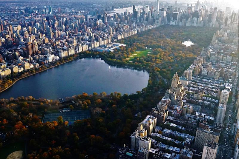 Aerial view of Central Park with the reservoir The Upper West Side and Upper East Side are in view