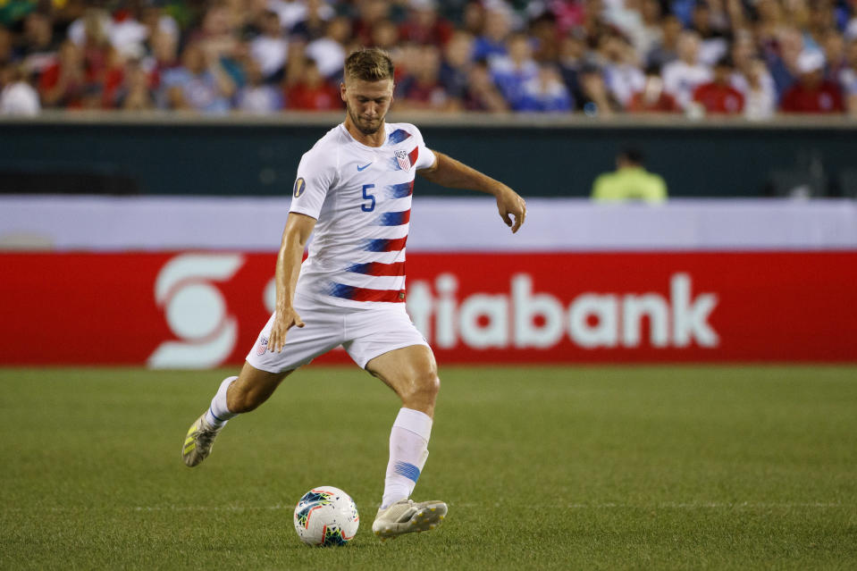 FILE - In this June 30, 2019, file photo, United States' Walker Zimmerman plays the ball during a CONCACAF Gold Cup soccer match against Curacao in Philadelphia. As Nashville SC embarks on its first Major League Soccer season, veteran defender Walker Zimmerman has been surprised by how quickly the team has coalesced. He knows a bit about expansion teams having been on LAFC's original roster. (AP Photo/Matt Slocum, File)