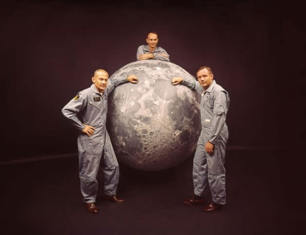 "Not originally published in LIFE. The Apollo 11 astronauts, 1969. From left: Lunar Module pilot Buzz Aldrin; Command Module pilot Michael Collins; Mission Commander Neil Armstrong. (Ralph Morse—Time & Life Pictures/Getty Images) <br><br><br><br><a href=""http://life.time.com/history/photos-up-close-with-apollo-11/#1"">Click here</a> to see the full collection at LIFE.com"