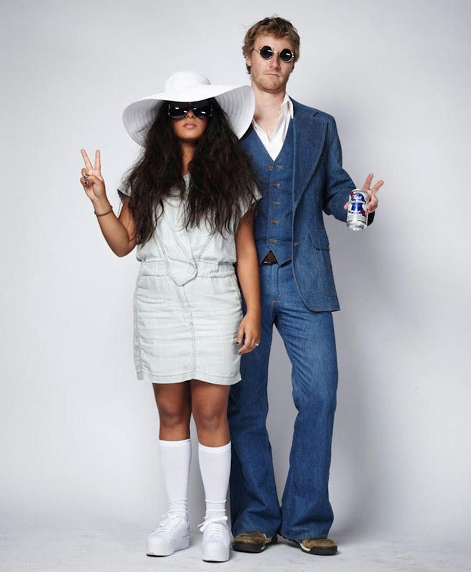 """<p>All you need is love—and a few more materials—to make this easy '70s costume inspired by one of the most iconic couples of the decade.</p><p><strong>Get the tutorial at <a href=""""https://www.brit.co/diy-couples-costumes-2/"""" rel=""""nofollow noopener"""" target=""""_blank"""" data-ylk=""""slk:Brit & Co."""" class=""""link rapid-noclick-resp"""">Brit & Co.</a></strong></p><p><strong><a class=""""link rapid-noclick-resp"""" href=""""https://www.amazon.com/Faleto-Womens-Beachwear-Straw-Floppy/dp/B06XPYZCY8/?tag=syn-yahoo-20&ascsubtag=%5Bartid%7C10050.g.22500148%5Bsrc%7Cyahoo-us"""" rel=""""nofollow noopener"""" target=""""_blank"""" data-ylk=""""slk:SHOP FLOPPY HAT"""">SHOP FLOPPY HAT</a></strong></p>"""