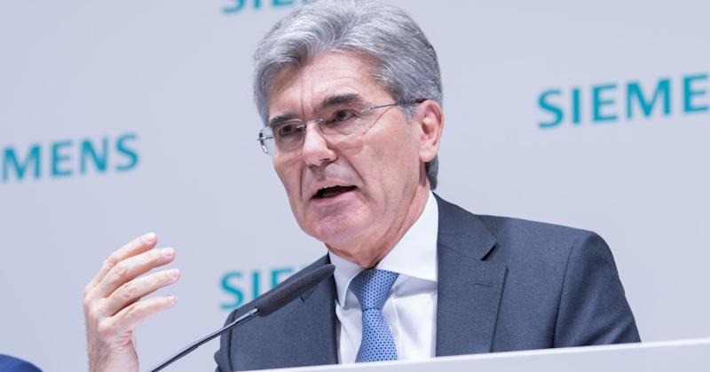 CEO Joe Kaeser gestures during the annual results press conference on November 9, 2017 in Munich, Germany.