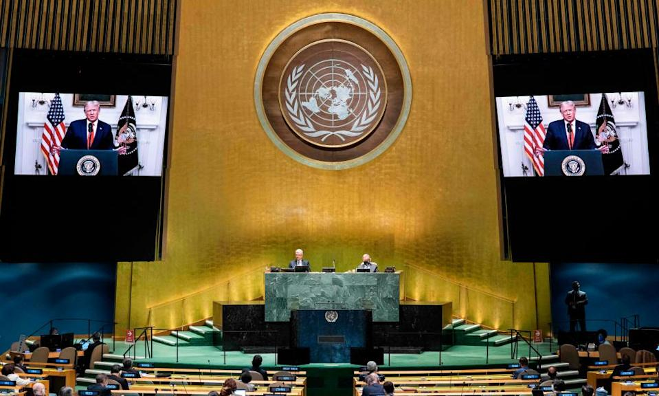 Donald Trump addressing the general debate of the 75th session of the UN general assembly in New York in September.