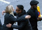 Former Dutch footballer Bobby Petta (centre) arrives for the funeral. (Photo by Andrew Milligan/PA Images via Getty Images)