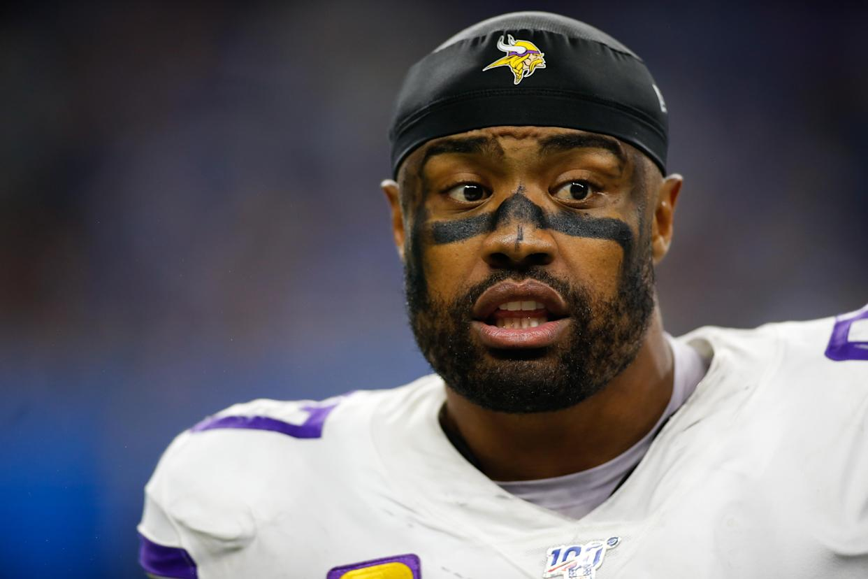 DETROIT, MI - OCTOBER 20:  Minnesota Vikings defensive end Everson Griffen (97) looks on during regular season game action between the Minnesota Vikings and the Detroit Lions on October 20, 2019 at Ford Field in Detroit, Michigan.  (Photo by Scott W. Grau/Icon Sportswire via Getty Images)