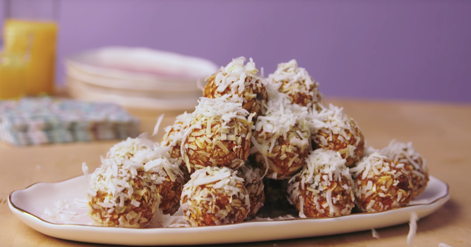 """<p>These carrot cake bites are a no-bake treat that you can make in just 25 minutes. </p><p><em><a href=""""https://www.womansday.com/food-recipes/food-drinks/recipes/a57826/carrot-cake-energy-bites-recipe/"""" rel=""""nofollow noopener"""" target=""""_blank"""" data-ylk=""""slk:Get the Carrot Cake Bites recipe."""" class=""""link rapid-noclick-resp"""">Get the Carrot Cake Bites recipe.</a></em></p>"""