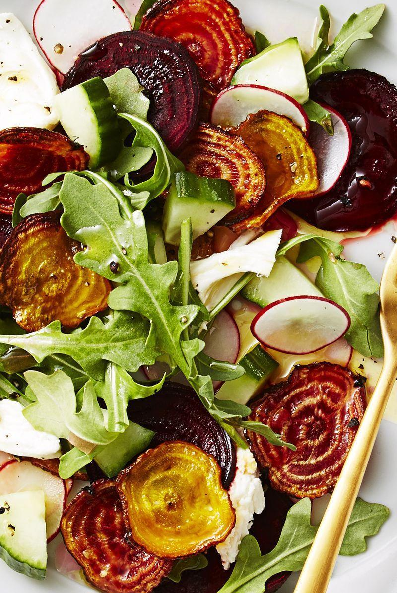 "<p>Crunchy beets give this salad the perfect amount of bite.</p><p>Get the <a href=""https://www.delish.com/uk/cooking/recipes/a34548470/crispy-beet-and-mozzarella-salad-recipe/"" rel=""nofollow noopener"" target=""_blank"" data-ylk=""slk:Crispy Beet and Mozzarella Salad"" class=""link rapid-noclick-resp"">Crispy Beet and Mozzarella Salad</a> recipe.</p>"